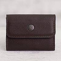 Leather coin purse, 'Clever Spender' - Handcrafted Leather Coin Purse in Espresso from Peru