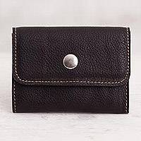 Leather coin purse, 'Sophisticated Spender' - Black Leather Coin Purse Crafted in Peru