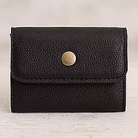 Leather coin purse, 'Elegant Spender' - Handcrafted Leather Coin Purse in Black from Peru