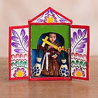 Ceramic mini retablo, 'Saint Martin de Porres' - Religious Ceramic Mini Retablo from Peru
