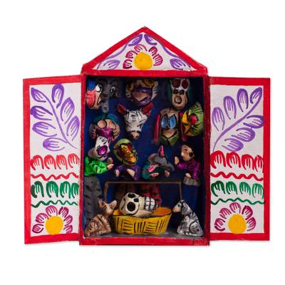 Ceramic mini retablo, 'Masks of the Andes' - Mask-Themed Ceramic Mini Retablo from Peru