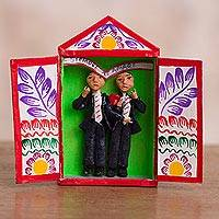 Ceramic mini retablo, 'Free Love' - Marriage-Themed Ceramic Mini Retablo from Peru