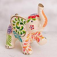 Ceramic figurine, 'Marching Elephant' - Floral Ceramic Elephant Figurine in White from Peru