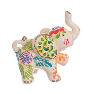 Ceramic Figurine Marching Elephant Fl In White From Peru