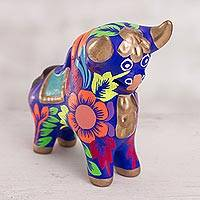 Ceramic figurine, 'Proud Pucara Bull in Blue' - Floral Ceramic Pucara Bull Figurine in Blue from Peru