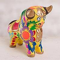 Ceramic figurine, 'Proud Pucara Bull in Yellow' - Floral Ceramic Pucara Bull Figurine in Yellow from Peru