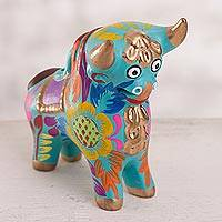 Ceramic figurine, 'Proud Pucara Bull in Turquoise' - Floral Ceramic Pucara Bull Figurine in Turquoise from Peru