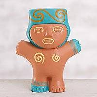 Terracotta figurine, 'Cuchimilco Man' - Terracotta Cuchimilco Man Figurine from Peru