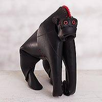 Recycled rubber home accent, 'Surprised Gorilla' - Recycled Rubber Gorilla Home Accent from Peru