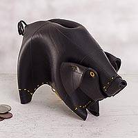 Recycled rubber piggy bank, 'Little Pig' - Recycled Rubber Piggy Bank from Peru
