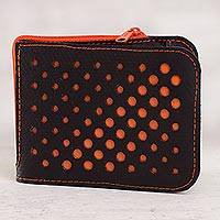 Recycled rubber wallet, 'Stylish Dots in Orange' - Recycled Rubber Wallet in Black and Orange from Peru