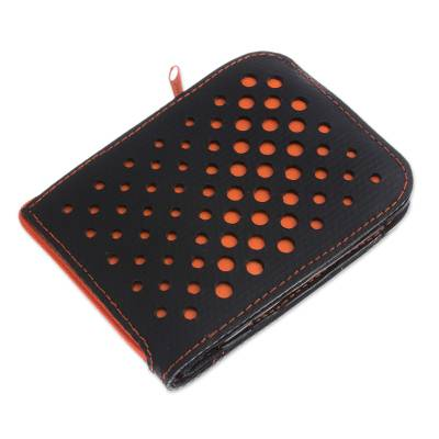Recycled Rubber Wallet in Black and Orange from Peru
