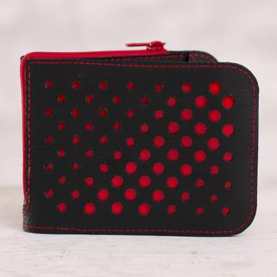 Recycled rubber wallet, 'Stylish Dots in Red' - Recycled Rubber Wallet in Black and Red from Peru