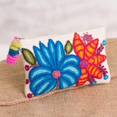 Alpaca clutch, 'Wondrous Flowers' - Embroidered Floral Alpaca Clutch in Antique White from Peru