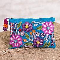 Alpaca clutch, 'Turquoise Garden' - Embroidered Floral Alpaca Clutch in Turquoise from Peru
