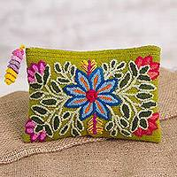 Alpaca clutch, 'Floral Flourish' - Embroidered Floral Alpaca Clutch in Warm Olive from Peru
