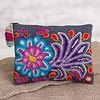 Alpaca clutch, 'Midnight Delight' - Embroidered Floral Alpaca Clutch in Slate from Peru
