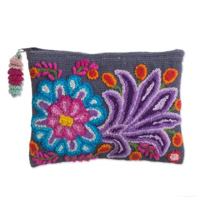 Embroidered Floral Alpaca Clutch in Slate from Peru