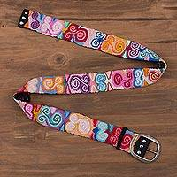100% alpaca belt, 'Colorful Spirals' - Spiral Motif Crocheted 100% Alpaca Belt from Peru