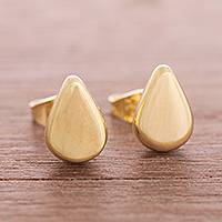 Gold plated sterling silver stud earrings, 'Little Drops of Light'