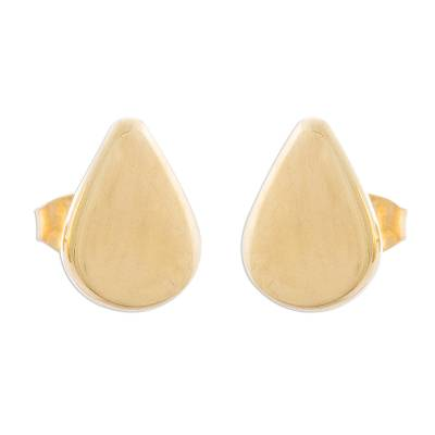 Gold plated sterling silver stud earrings, 'Little Drops of Light' - Drop-Shaped Gold Plated Sterling Silver Stud Earrings