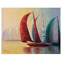 'Contest of Colors' - Signed Impressionist Painting of Colorful Boats from Peru