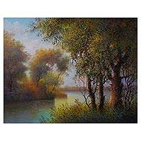 'Morning Dusk' - Signed Impressionist Landscape Painting from Peru
