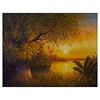 'Peruvian Biome' - Signed Impressionist Painting of a Sunset from Peru