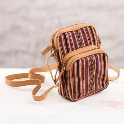 Leather accented wool blend backpack, 'Fashionable Stripes' - Striped Leather Accent Wool Blend Backpack from Peru