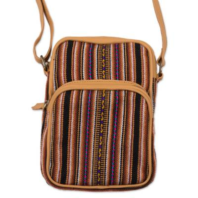 Striped Leather Accent Wool Blend Backpack from Peru