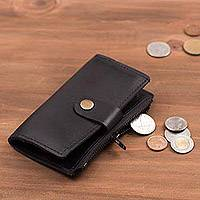 Leather coin purse and key holder, 'Sleek Business in Black' - Leather Coin Purse and Key Holder in Black from Peru