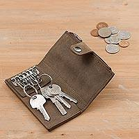 Leather coin purse and key holder, 'Sleek Business in Clay' - Leather Coin Purse and Key Holder in Clay from Peru