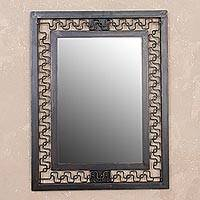 Steel wall mirror, 'Crossed Paths' - Handcrafted Modern Steel Wall Mirror from Peru