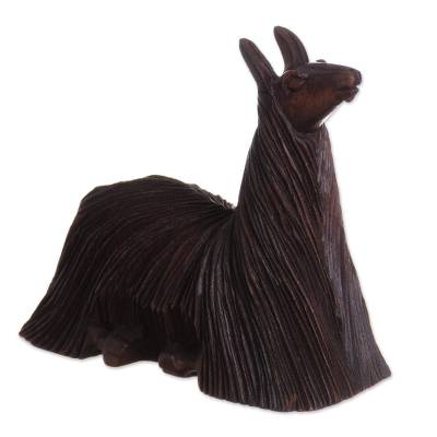 Wood sculpture, 'Lounging Suri' - Cedar Wood Sculpture of a Laying Alpaca from Peru
