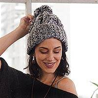 100% alpaca hat, 'Winter Heather' - Knit Heathered 100% Alpaca Hat from Peru