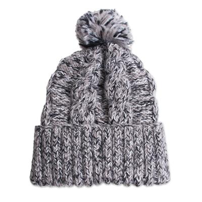 100% alpaca hat, 'Winter Heather' - Knit Heathered 100% Alpaca Hat from Peru