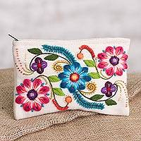 Alpaca blend clutch, 'Vibrant Flowers' - Floral Embroidered Alpaca Blend Clutch in Eggshell from Peru
