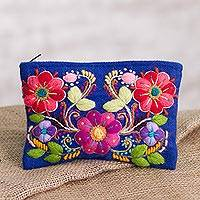 Alpaca blend clutch, 'Regal Flowers' - Floral Embroidered Alpaca Blend Clutch in Royal Blue