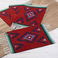 Wool placemats, 'Crimson Purity' (set of 4) - Handwoven Wool Placemats in Crimson from Peru (Set of 4)