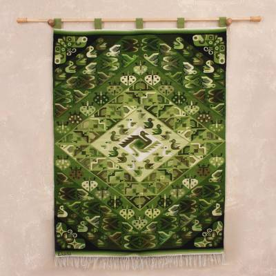 Wool tapestry, 'Fauna of My Country' - Animal-Themed Handwoven Wool Tapestry in Green from Peru