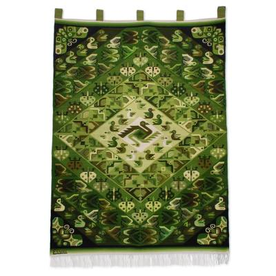 Animal-Themed Handwoven Wool Tapestry in Green from Peru