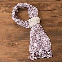Alpaca blend scarf, 'Lavender Heather' - Alpaca Blend Scarf in Deep Lavender and Eggshell from Peru