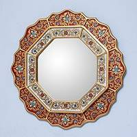 Reverse painted glass mirror, 'Red Star' - Collectible Floral Peruvian Reverse Painted Glass Mirror