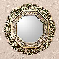 Reverse painted glass mirror, 'Green Star' - Green Floral Fair Trade Reverse Painted Glass Wall Mirror