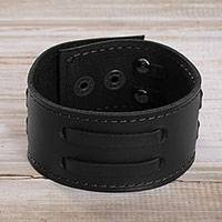 Men's leather wristband bracelet, 'Bold Style in Black' - Men's Leather Wristband Bracelet in Black from Peru