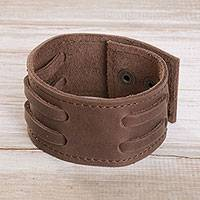 Men's leather wristband bracelet, 'Bold Style in Mahogany' - Men's Leather Wristband Bracelet in Mahogany from Peru