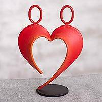 Steel sculpture, 'Our Heart in Red' - Abstract Steel Heart Sculpture in Red from Peru