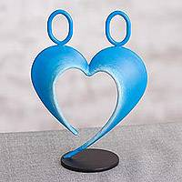 Steel sculpture, 'Our Heart in Blue' - Abstract Steel Heart Sculpture in Blue from Peru