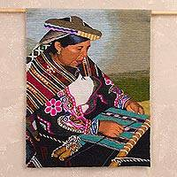 Wool tapestry, 'Weaver of the Andes' - Handwoven Wool Tapestry of a Weaver Woman from Peru