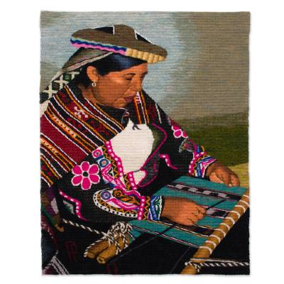Handwoven Wool Tapestry of a Weaver Woman from Peru